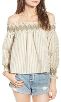 Moon River Women's Embroidered Off The Shoulder Top