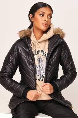 I SAW IT FIRST Black Fur Hood High Shine Padded Coat