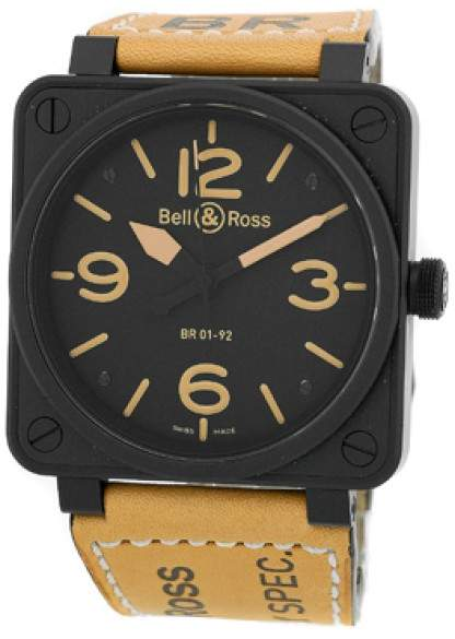 """Bell & Ross BR01-92 Heritage"""" Black Carbon Finish Stainless Steel Mens Strap Watch"""
