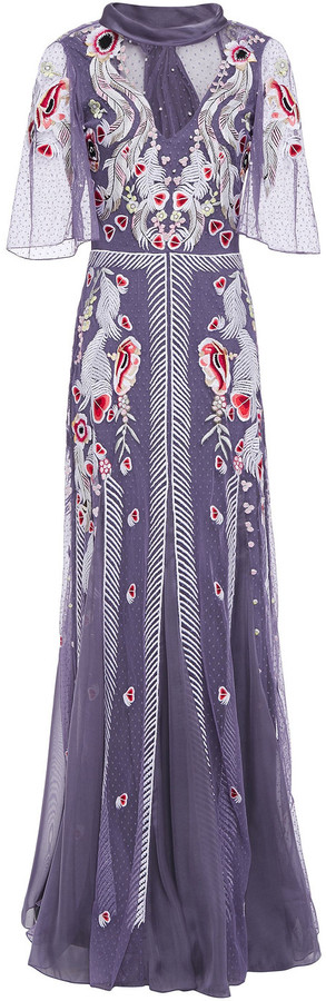 Temperley London Embroidered Point D'esprit And Voile Gown