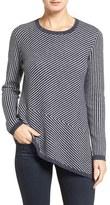 Nordstrom Women's Stripe Cashmere Asymmetrical Hem Pullover