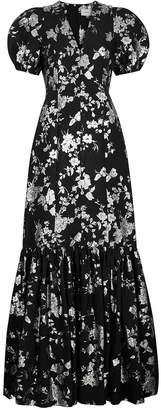 Erdem Rosetta Black Floral-jacquard Gown