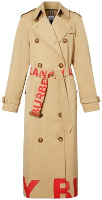 Burberry Waterloo Printed Cotton Coat W/ Belt