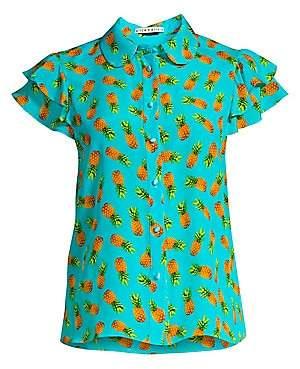 Alice + Olivia Women's Ziggy Pineapple Print Ruffled Cap Sleeve Blouse