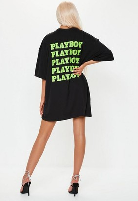 Missguided Playboy X Black Extreme Oversized Repeat Graphic T Shirt Dress
