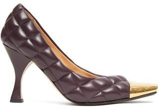 Bottega Veneta Square Toe Cap Quilted-leather Pumps - Womens - Burgundy