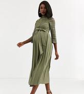 Little Mistress Maternity lace detail midaxi dress in khaki