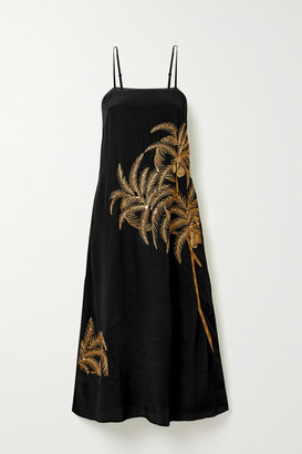 Figue Olatz Embellished Embroidered Crepe De Chine Midi Dress - Black