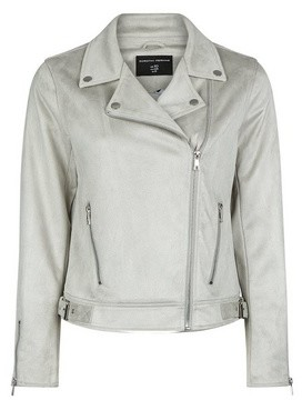 Dorothy Perkins Womens Grey Suedette Biker Jacket, Grey