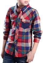 Jia You Jia JiaYou Child Kid Boy Casual Plaid Long Sleeve Buttons Shirt