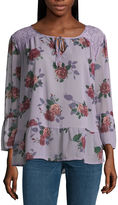 Self Esteem Long Sleeve Split Crew Neck Chiffon Floral Blouse-Juniors