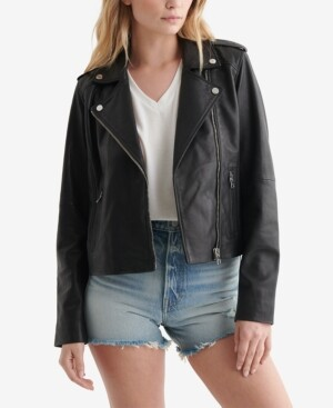 Lucky Brand Women's Classic Leather Moto Jacket