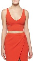 Ronny Kobo Raw-Edge Crop Top, Vermillion Red