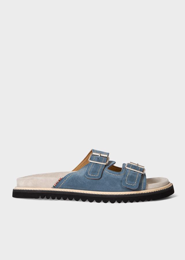 Paul Smith Men's Washed Blue Suede 'Phoenix' Sandals