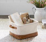 Pottery Barn Carlo Canvas & Leather Utility Basket