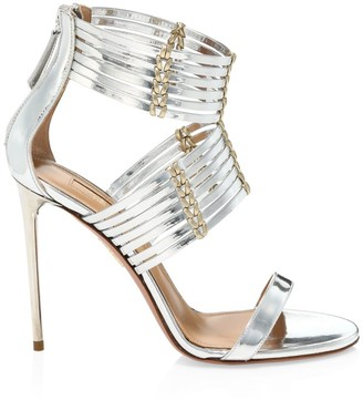 Aquazzura Ravello Metallic Leather Sandals
