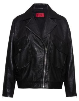 HUGO BOSS Relaxed Fit Biker Jacket In Grained Nappa Leather - Black