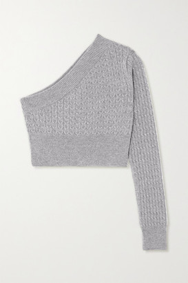 GAUGE81 Welling Cropped One-sleeve Cable-knit Cashmere Sweater - Gray