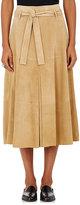R/R Studio by Robert Rodriguez Women's Suede Belted Midi-Skirt-BEIGE, TAN