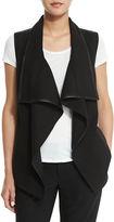 Vince Drape-Collar Vest with Leather Trim