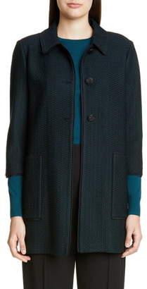 St. John Refined Textured Herringbone Knit Jacket