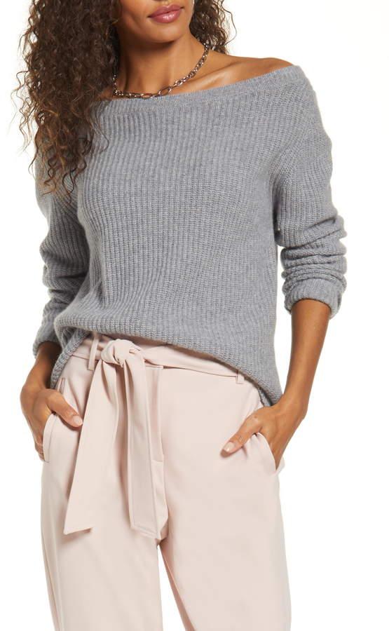 Halogen Off the Shoulder Cashmere Sweater