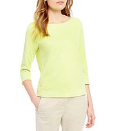 Eileen Fisher Ballet Neck Organic Cotton Interlock Top