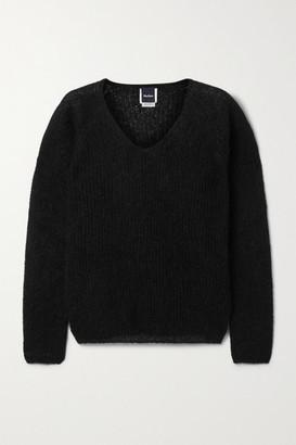Max Mara Leisure Ribbed Mohair-blend Sweater - Black