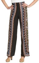 black, olive and blue wide leg side printed pants