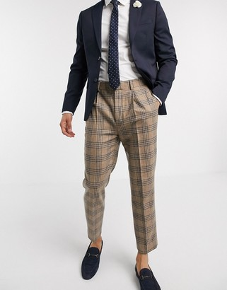 ASOS DESIGN tapered crop smart trousers in beige check 100% lambs wool