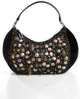 Oscar de la Renta Black Leather Beaded Detail Zipper Closure Shoulder Handbag