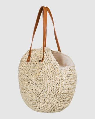 Roxy Only Good Vibes Round Straw Beach Bag