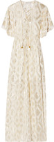 Rachel Zoe Lace-up Metallic Fil Coupé Silk-blend Maxi Dress - Cream