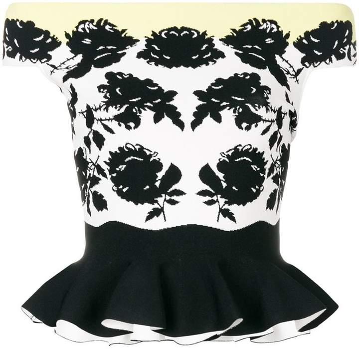 Alexander McQueen shouderless floral print top