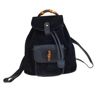 Gucci Bamboo Black Suede Backpacks