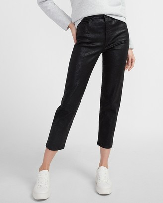 Express High Waisted Black Coated Snakeskin Mom Jeans