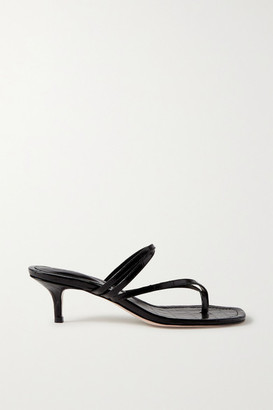 PORTE & PAIRE Croc-effect Leather Sandals - Black