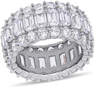Delmar Sterling Silver Prong Set Round & Emerald Cut CZ Band Ring