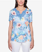 Alfred Dunner Petite Printed Lace-Detail Top