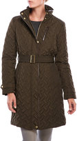 Cole Haan Signature Quilted Faux Leather Trim Coat