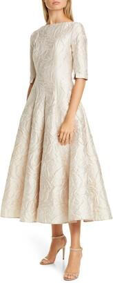 Talbot Runhof Poiret Rose Jacquard Fit & Flare Midi Dress