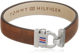 Tommy Hilfiger Men's Burgundy Leather Hardwear Bracelet
