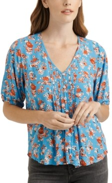 Lucky Brand Pintucked Floral-Print Top