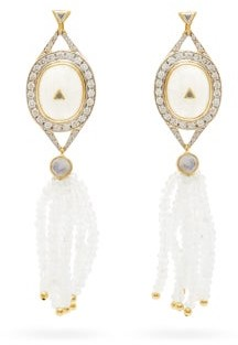 Jade Jagger Diamond, Moonstone & 18kt Gold Earrings - White Multi