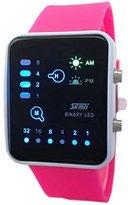 Jewtme Fashion Binary Digital LED Waterproof Boys Girls Sport Casual Wrist Watches (Red)