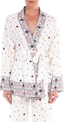 Badgley Mischka Border Print Crepe de Chine Belted Jacket