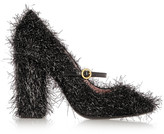 Moschino Tinsel-covered leather Mary Jane pumps