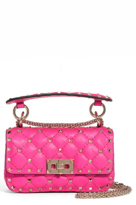Valentino Mini Spike It Rockstud Neon Leather Shoulder Bag