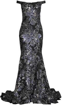 Jovani Metallic Floral Off-The-Shoulder Gown