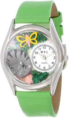Whimsical Watches Cat Nap Green Leather and Silvertone Unisex Quartz Watch with White Dial Analogue Display and Multicolour Leather Strap S-0120010